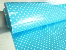 Blue/White 3mm PVC POLKA DOTS tablecloth oilcloth plastic coated waterproof 1m