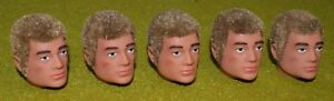 VINTAGE ACTION MAN 40th REPLACEMENT HEAD FLOCKED FUZZY SIDEBURNS BLONDE HAIR X5