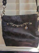 Coach Signature Black Sateen Chain Duffle Cross-body Bag F18862 Good Condition