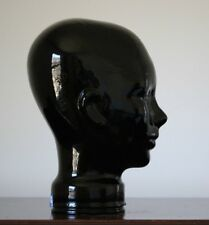 Black Glass Mannequin Head Hat Sunglass Display Made Spain Pier 1 Vintage NOS