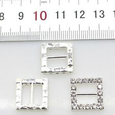 10pcs/Lot 16MM Square Silver Rhinestones Buckles Metal Diamante Diy Hair Accesso