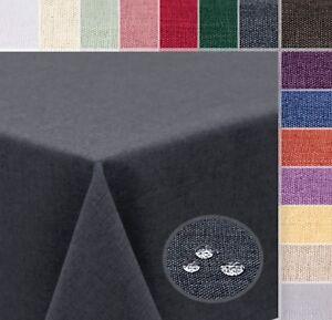 Tischdecke Leinen Optik Wasserabweisend, Form Größe u. Farbe wählbar