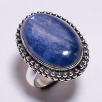 925 Solid Sterling Silver Ring Size UK O, Natural Kyanite Handcrafted CR3282