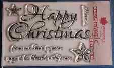NEW Woodware 'Script Happy Christmas' Clear Stamps FRS297; Fast & Free 📦