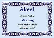 Akeel Personalised Name Meaning Certificate