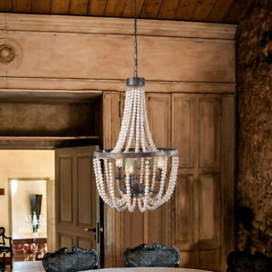 French Country Wood Beaded Chandelier 3 Light Pendant Light Living Room Fixture