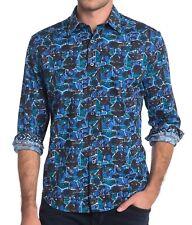 Robert Graham Men's Long Sleeve Gaston Abstract Skull Shirt Classic Fit Blue M