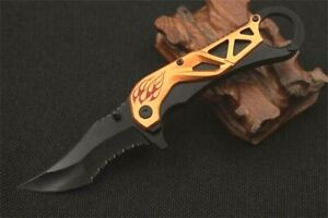 Clip Point Knife Serrated Folding Pocket Hunting Wild Survival Tactical Combat S