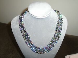 Vintage 4 Row Austrian Crystal Necklace - VGC