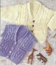 BABY CABLED WAISTCOAT & CARDIGAN KNITTING PATTERN 16 TO 24 INCH BY EMAIL (1340)