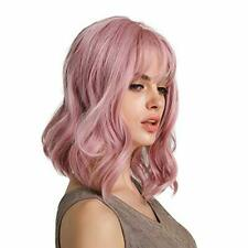 14inch Pink Short Bob Curly Women Cosplay Party Synthetic Full Wig with Bangs