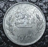 1944 BELGIUM - 2FR - WWII era - Struck in United States on Zinc Penny Blanks