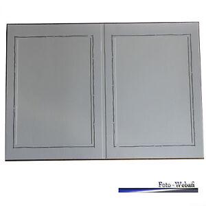 2 er Leporello, 5 Stück, mit Silberrand für Bildformat 13 x 18 cm, Stoffstruktur