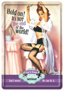 Retro Tin Metal Postcard 'NOT THE END OF THE WORLD' Mini Sign 1950's Pinup Hair