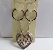 I Love You Couple Rhinestone Dolphine Magnetic Metal Keychain Pair B
