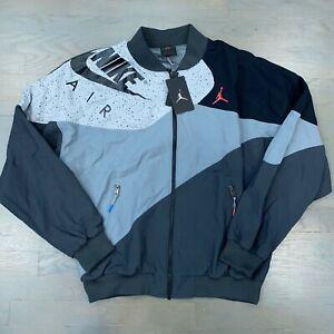 Nike Men's Air Jordan Retro 4 Light Weight Jacket Grey Black CQ8307-070 Size XL