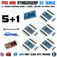 5Pcs Atmega328P Board for Arduino Pro Mini 5V 16MHz FT232RL FTDI Cable Mini USB