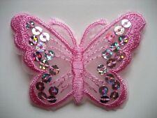Rosa farfalle PAILLETTE Paillette Ferro Su/Sew On Patch (pacco da 10 toppe)