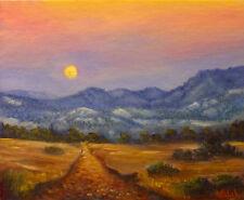 Original Australian Landscape Oil Painting moon rise outback