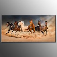 Framed Wall Art Vigorous Horses Oil Painting Canvas Print Poster Home Room Decor