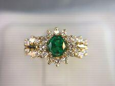 Estate 14k Yellow Gold Round Brilliant Diamond Oval Colombian Green Emerald Ring