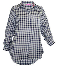 Bluse Tamaris Gr. 38 weiß dunkelblau Karo Longbluse Hemd hinten länger