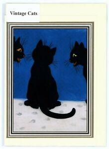 "Nostalgic classic ""Three Black Cats"" greeting card. Hand made, blank inside"
