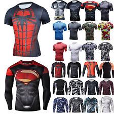 Mens Superhero Print Tight Tops Compression Under Base Layer Sports Gym T-shirts