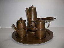 Vintage COBRE Y LATON Mexican Copper COFFEE Hot Chocolate Pot TEA Set  SIGNED