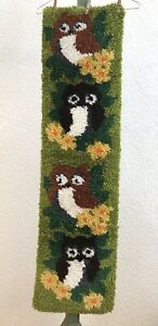 Vintage Owl Latch Hook Wall Hanging Mid Century 70s Retro Yarn Art Lined Country