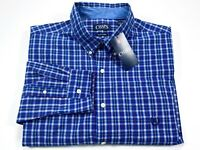 Chaps Easy Care XL Blue Check Long Sleeve Button Down Men's Shirt NEW NWT