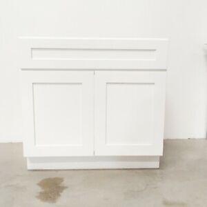 36 inches sink white shaker kitchen cabinet