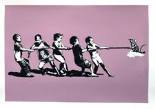 Blek le Rat, Rope Pulling (Pink) Signed Limited Edition Screen Print with COA