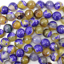 "Faceted Lemon Purple Agate Round Beads 15"" Strand 4mm 6mm 8mm 10mm 12mm"
