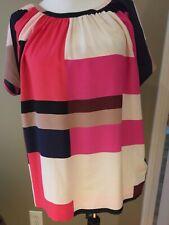 kate spade silk blouse short slv color block red pink black  sz 6 tie back