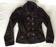 Chic! Short Black Wool/Polyester Double Breasted Size M Coat From Lane Crawford