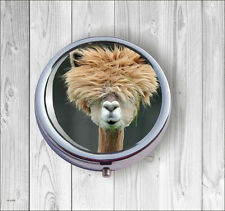 ALPACA FAMILY PERSONALITY WINNER #3 PILL BOX ROUND METAL -sgr4Z