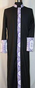 Clergy, Minister, Pastor, Preacher Robe Black with Lavender Brocade Cross Trim