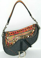 Christian Dior~Denim Saddle Bag~ Embellished Peru Orange Blue Pink Crystal Gold