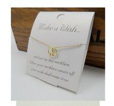 "Gold Tone MAKE A WISH CARD Friendship Pendant Short Collar Necklace 41cm/16"""