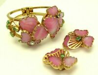 1950's HOBE Set Julio Marsella Mayorka Petals Clamper Bracelet Earrings