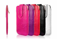 Leather Pull Up Tab Case Magnetic Sleeve Pouch Cover Wallet For All Smart Phones
