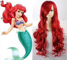 Largo Rojo De Lujo Disney Little Mermaid Ariel Peluca Disfraz Cosplay