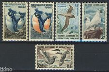 TAAF, 5 early Penguins and birds to 2Fr, MNH