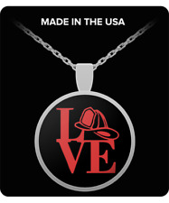 "Love Firefighter Silver Plated Necklace 1"" Round Pendant Custom Made Gift"