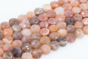 8MM Sunstone Faceted Flat Round Button Grade AA Genuine Natural Loose Beads