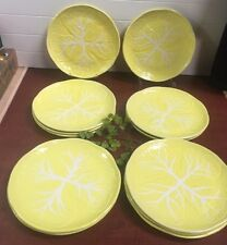 "Set Of 12 Rare Image Inn Yellow Cabbage Heavy 11"" Dinner Plates Made Portugal"