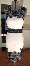 Bebe Lace Trim Ponte Dress Black and White XXS