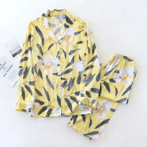 2pcs Womens Cotton Pajamas Set Print Sleepwear Pyjama Nightwear Soft Loungewear