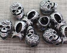 Metal Bead Lot 10 M Grey Iron Skull Paracord Lanyards Bracelets Charm Crafts DIY
